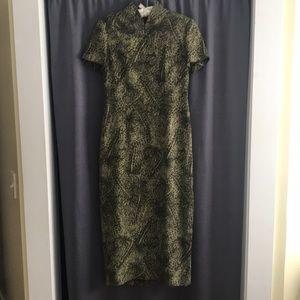 Olive Leopard Print Dana Buchman Dress